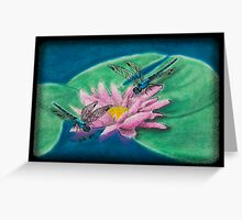 Dragonflies on Water Lily Greeting Card
