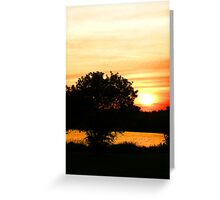 Orange Sunset Landscape Greeting Card
