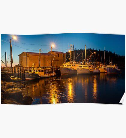 Fishing boats at the wharf Poster
