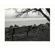 bench on the hudson Art Print