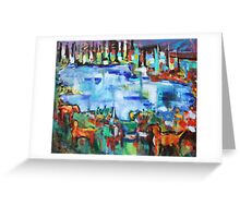 Golden Retrievers By The Pond Greeting Card