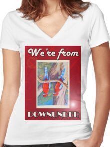 WE'RE FROM DOWNUNDER Women's Fitted V-Neck T-Shirt