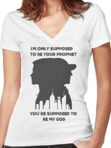 Mr Robot Quote - Your Prophet Your God Women's Fitted V-Neck T-Shirt