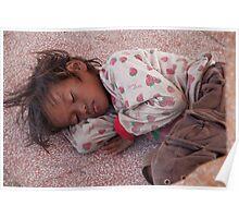 Cambodia. Phnom Pehn. Sleeping homeless child. Poster