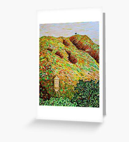 Cahuenga Peak, Warner Bros tower, David Olson Greeting Card