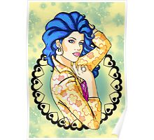 80s Blue-Haired Glamour Queen Poster