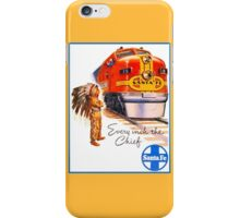 Santa Fe Chief train streamliner ad retro vintage iPhone Case/Skin