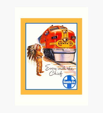 Santa Fe Chief train streamliner ad retro vintage Art Print