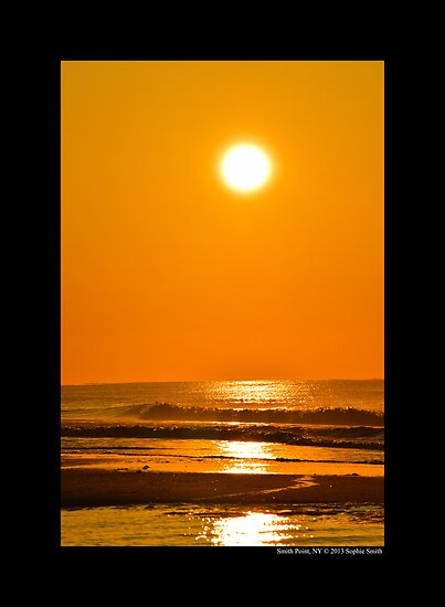 Atlantic Ocean Golden Sunrise - Smith Point, New York  by © Sophie W. Smith