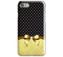 Elegant Black White Polka Golden Ribbon Diamond iPhone Case/Skin