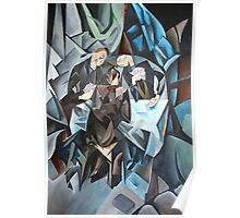 Three Men Playing Cards Poster