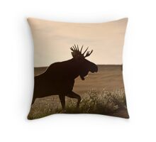 Prairie Moose Throw Pillow