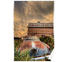 Storm Clouds Saskatchewan antique car and barn Poster
