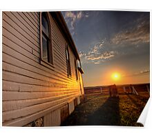 Storm Clouds Saskatchewan with country church at sunset Poster