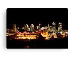 Calgary Alberta Canada Skyline major City saddledome Night Photograph Canvas Print
