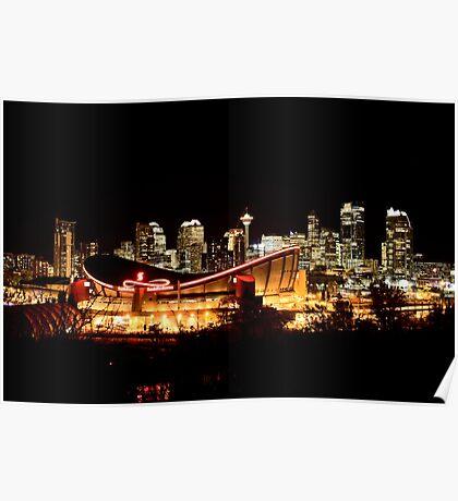 Calgary Alberta Canada Skyline major City saddledome Night Photograph Poster