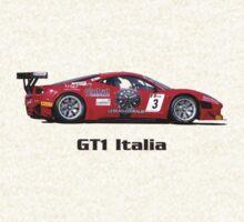 """GT1 Italia"" Red Ferrari (T-shirt - Hoodie - Sticker) by motapics"