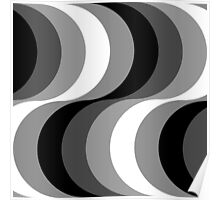 Large Seventies zigzag black and white waves Poster