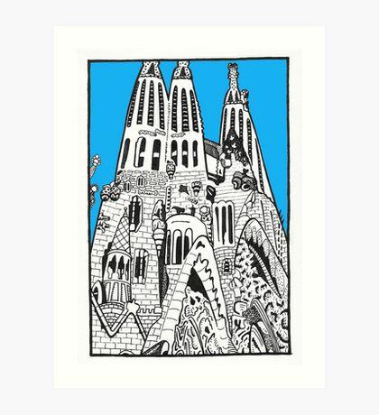 La Sagrada Familia in blue Art Print