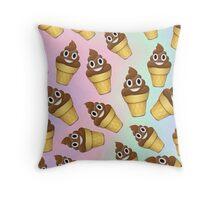 Poop Emoji Ice Cream Cone Design Throw Pillow