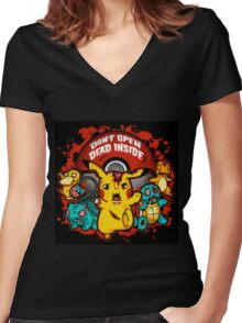 Pokemon Invade Women's Fitted V-Neck T-Shirt
