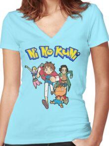 Pokemon + Ni No Kuni = Pokuni? Ninokémon? Women's Fitted V-Neck T-Shirt