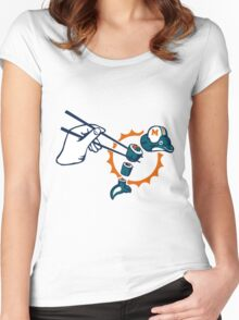 Squish the Fish funny nerd geek geeky Women's Fitted Scoop T-Shirt