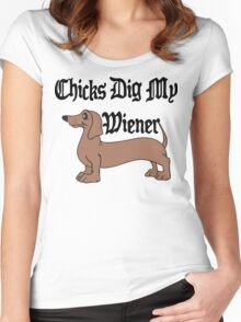 Chicks Dig My Wiener Women's Fitted Scoop T-Shirt