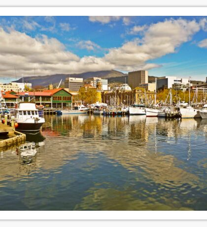 Fishermans Wharf and Hobart cityscape Sticker