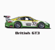 """British GT3"" Green-Yellow Race Car (T-shirt - Hoodie - Sticker) by motapics"