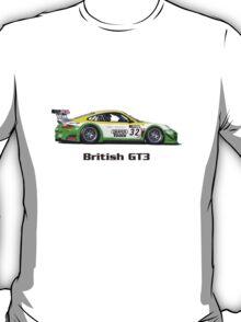 """British GT3"" Green-Yellow Race Car (T-shirt - Hoodie - Sticker) T-Shirt"