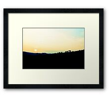 Cows at sunset Framed Print