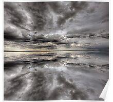 Saskatchewan Lake Reflection Chaplin Canada clouds Poster