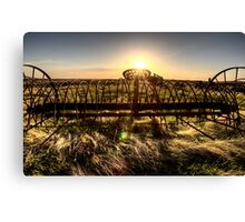 Antique Farm Equipment sunset Saskatchewan Canada Canvas Print