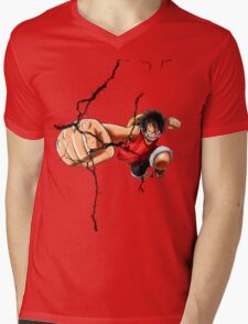 Luffy - Cracked Mens V-Neck T-Shirt