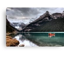 Lake Louise Glacier  canoe and emerald color Canvas Print