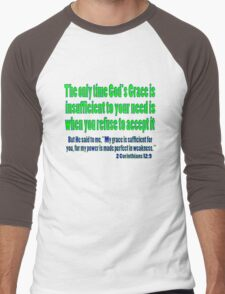 God's sufficient grace, 2cor 12:9 Men's Baseball ¾ T-Shirt