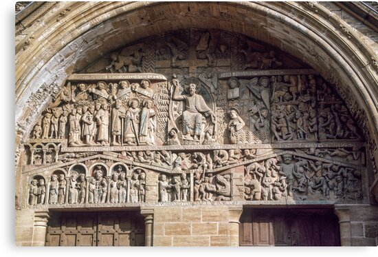Tympanum over front door Conques Abbey Church 19840228 0056  by Fred Mitchell