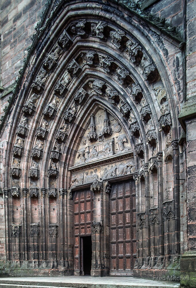 Main door Rodez Cathedral 19840228 0067  by Fred Mitchell
