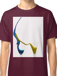 Exploding glasses of paint on white background High speed photography  Classic T-Shirt