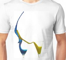 Exploding glasses of paint on white background High speed photography  Unisex T-Shirt