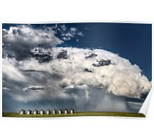 Prairie Road Storm Clouds Saskatchewan Canada field metal granaries Poster