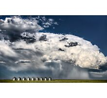 Prairie Road Storm Clouds Saskatchewan Canada field metal granaries Photographic Print