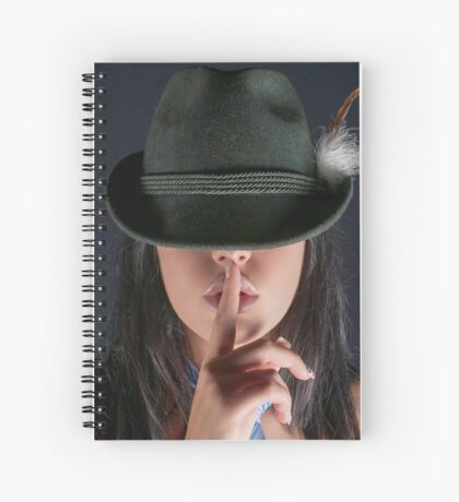 young woman in her 20s gesturing silence Spiral Notebook