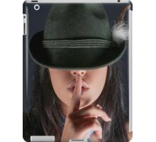 young woman in her 20s gesturing silence iPad Case/Skin