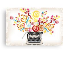 Creativity - typewriter with abstract swirls Canvas Print