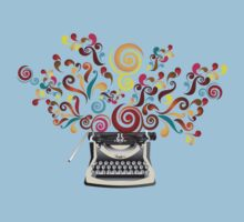 Creativity - typewriter with abstract swirls Kids Clothes