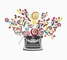 Creativity - typewriter with abstract swirls T-Shirt