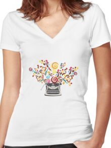 Creativity - typewriter with abstract swirls Women's Fitted V-Neck T-Shirt
