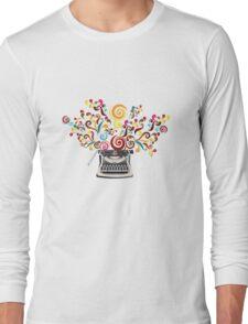 Creativity - typewriter with abstract swirls Long Sleeve T-Shirt